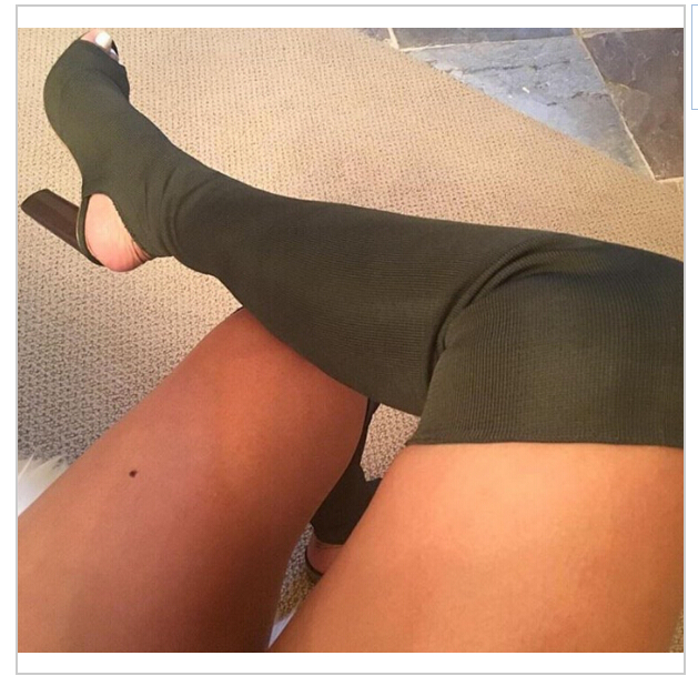 New beautiful Army Green Sexy Women Thigh High Boots Peep Toe Stretch Fabric Women Over The Knee Boots 11CM High Heels Women Boo ...