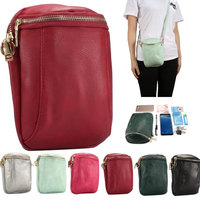 Universal PU Leather Shoulder Zipper Dual Pouch Bag Loop For IPhone 5 6 6S 7 8