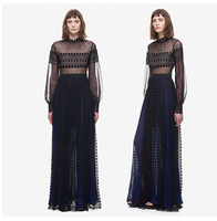 New European Style Spring Summer Lace Perspective Sexy Slim High Collar High Waist Woman Dress Long