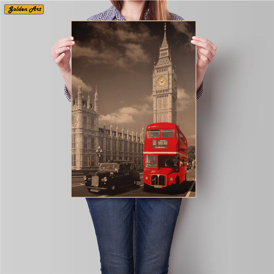London Big Ben and Classic Red Bus Vintage Kraft Paper Poster <font><b>Wall</b></font> <font><b>Sticker</b></font> cafe bar pub <font><b>Retro</b></font> Painting home decor 45.5x31.5cm image