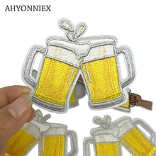 1 PCS Kawaii Beer Cup Cheers Patches Iron on Badges Stripes Fashion Clothes Appliques Sewing Embroidery Cute Stickers