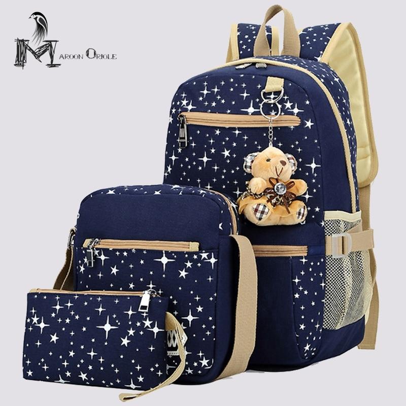 Детская школьная комплект с сумкой студент мешок Звезда Рюкзак Холст Школьные сумки для подростков женщины рюкзак холст набор печати mochillas
