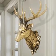 3D Deer Head Sculpture Murals Home Wall Hanging Animal Statue Decoration Resin Handmade European Village Ornament Artwork Craft