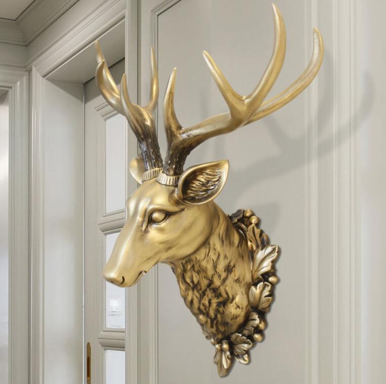 3D Deer Kopf Skulptur Wandmalereien Hause Wand Hängen Tier Statue Dekoration Harz Handgemachte Europäischen Dorf Ornament Kunstwerk Handwerk-in Statuen & Skulpturen aus Heim und Garten bei  Gruppe 1