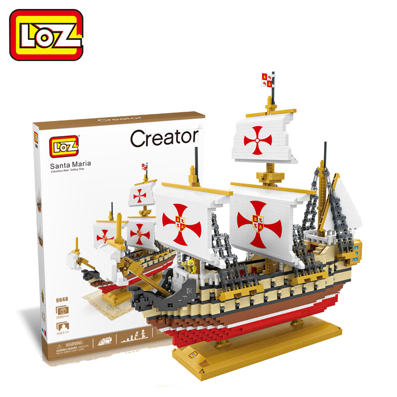 LOZ Diamond Blocks Santa Maria Ship Model Boat Blocks Building Assembly Sailboat Bricks Educational Toys DIY for Boys Children loz diamond blocks technic bricks building blocks toy rms titanic ship steam boat model toys for children micro creator 9389