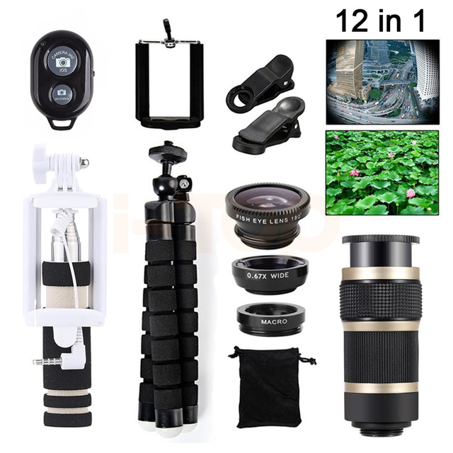 Mais novo 8x zoom lente lentes de telefoto para iphone xiaomi redmi 2 3 S 4 nota 3 Telescópio Lentes Fisheye Macro Wide Angle microscópio