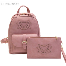 Backpack Faux Leather Women Daily Solid Zipper Soft Handle Letter Embossing Shoulder School Leisure Girl Travel Cat Bags