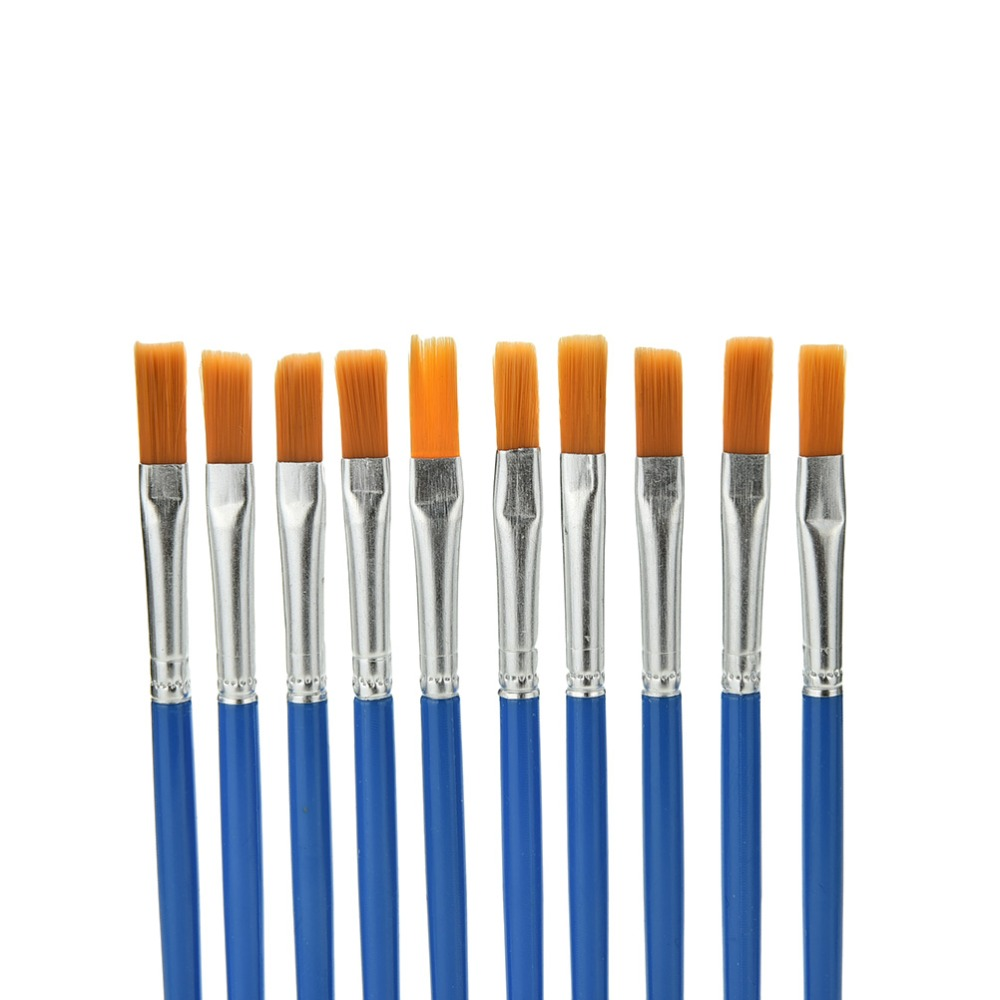 10Pcs/Set Watercolor Gouache Paint Brushes Round Pointed Tip Nylon Hair Painting Brush Set Art Supplies
