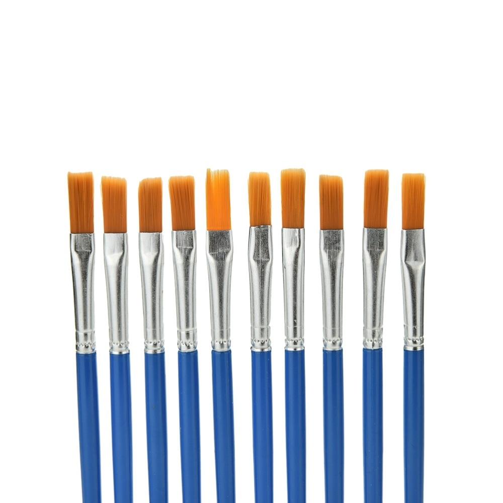 10Pcs/Set Watercolor Gouache Paint Brushes Round Pointed Tip Nylon Hair Painting Brush Set Art Supplies