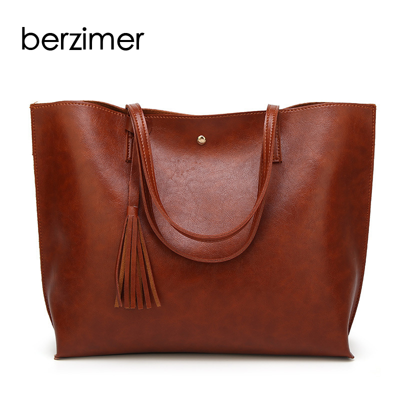 BERZIMER New Fashion Women Handbag Nice Black Pink Grey Green Blue Dark Red Wine Red Shoulder Bag Large Capacity Bags for Women цена