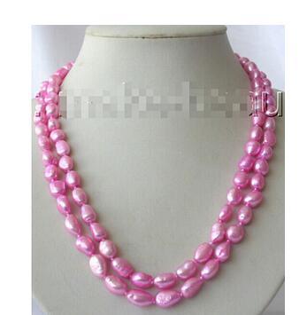 Genuine Natural  freshwater pearl deep pink baroque necklace Freshwater Pearl Necklace 925 silver wedding Women Gift