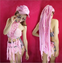 New Female Singer DS Costume Nightclub DJ Costumes Women Sexy Pink Plush Suit Straps Stage Clothes