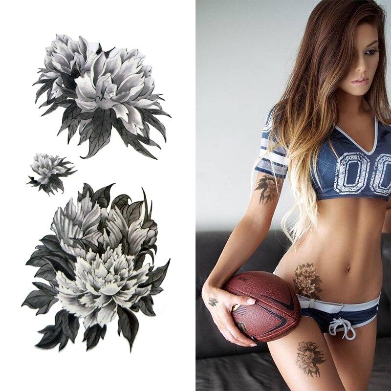 petit noir et blanc fleur tatouages autocollants tanche. Black Bedroom Furniture Sets. Home Design Ideas