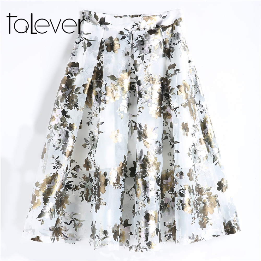 2018 Summer Women Long Skirt Casual High Waist A-line Pleated Maxi Skirt Vintage Floral Print Mesh Beach Skirt Plus Size Talever