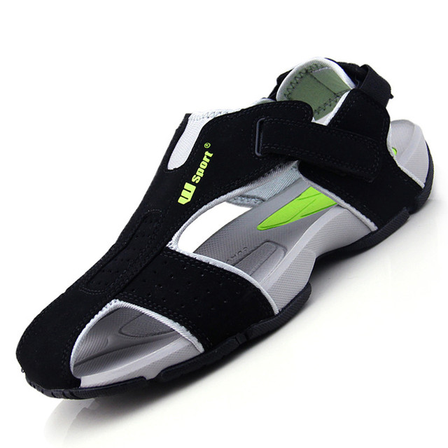2015 de Verano Sandalias de Los Hombres Sandalias de Playa de Moda Punta Cerrada Flexional Ante Zapatos de Los Hombres Zapatos de la Playa XMH0023-0.5 Tamaño Grande