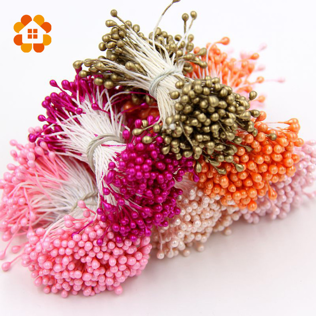 1 Bundle= (150PCS )Artificial Flower Double Heads Stamen Pearlized Craft Cards Cakes Decor Floral for home wedding party decor