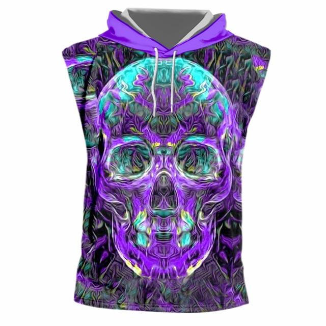 UJWI, camiseta sin mangas para Hombre con capucha, estampado en 3d, Calavera púrpura, chaleco con capucha, camiseta para Hombre, Hip Hop, sudadera sin mangas, Sudadera con capucha, 7XL