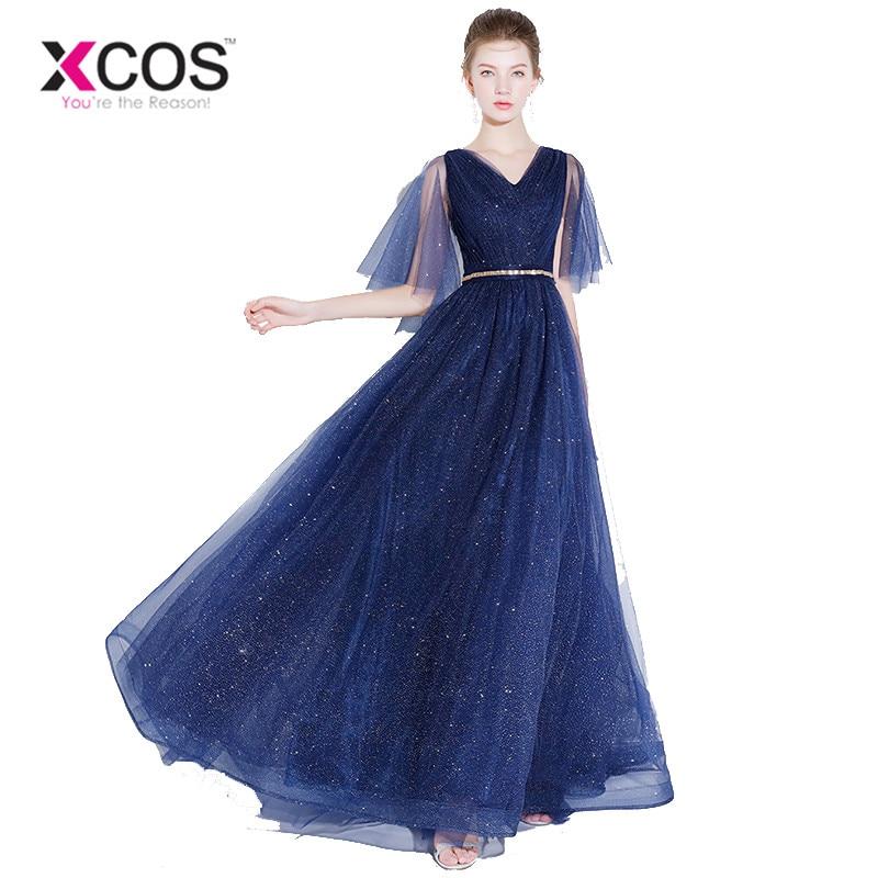 76d67a10005 XCOS Выпускные платья для девочек новое поступление V шеи Shourt рукава  тюль Темно-синие импортные