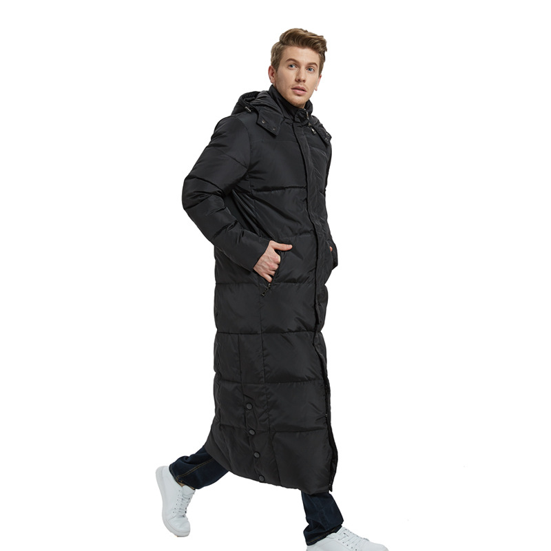 Mens Cotton Down Thicken Winter Warm Jacket Hooded Mid Long Overcoat Outwear Hot
