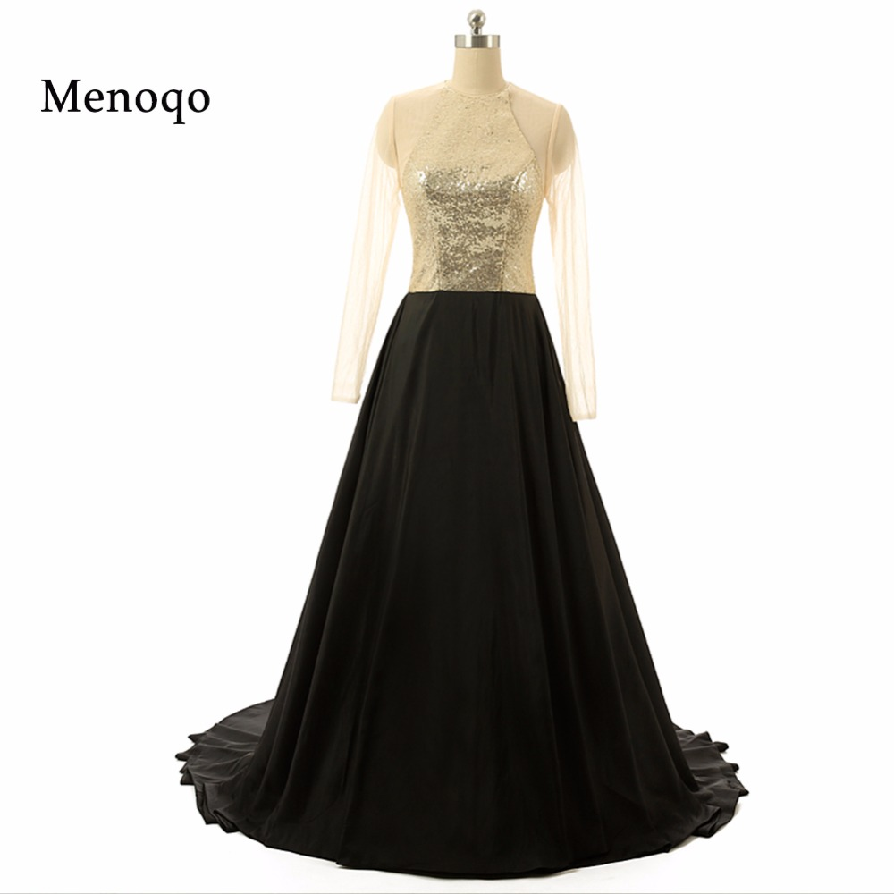 2018 Actual Evening Gowns Sheer Long sleeve A line Chiffon Sequins ...