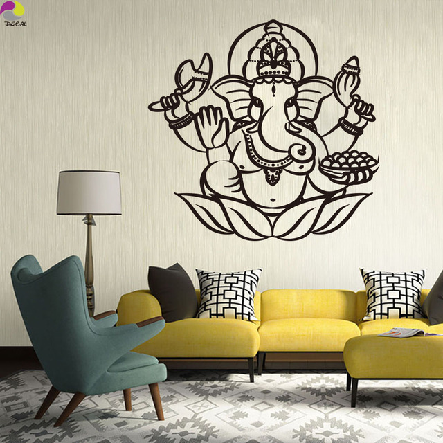 Ganesha Buddha Wall Sticker Living Room Bedroom India Om Yoga Mandala Hamsa  Elephant Wall Decal Vinyl