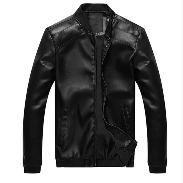 2016 stylish men fall slim fit pure color stand collar leather jacket/Men of high-grade leisure leather coat/leather S-XXL