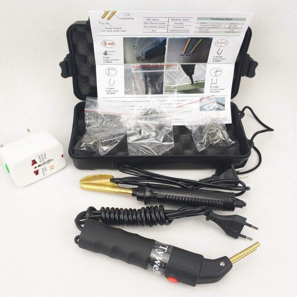 Máquina de reparación de parachoques de coche profesional Kit de reparación de plástico ABS máquina de soldadura de PVC 240 V 110 máquina de grapadora caliente