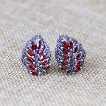 925 sterling silver jewelry silver restoring ancient ways old silversmith manual blue corundum garnet leaf earrings