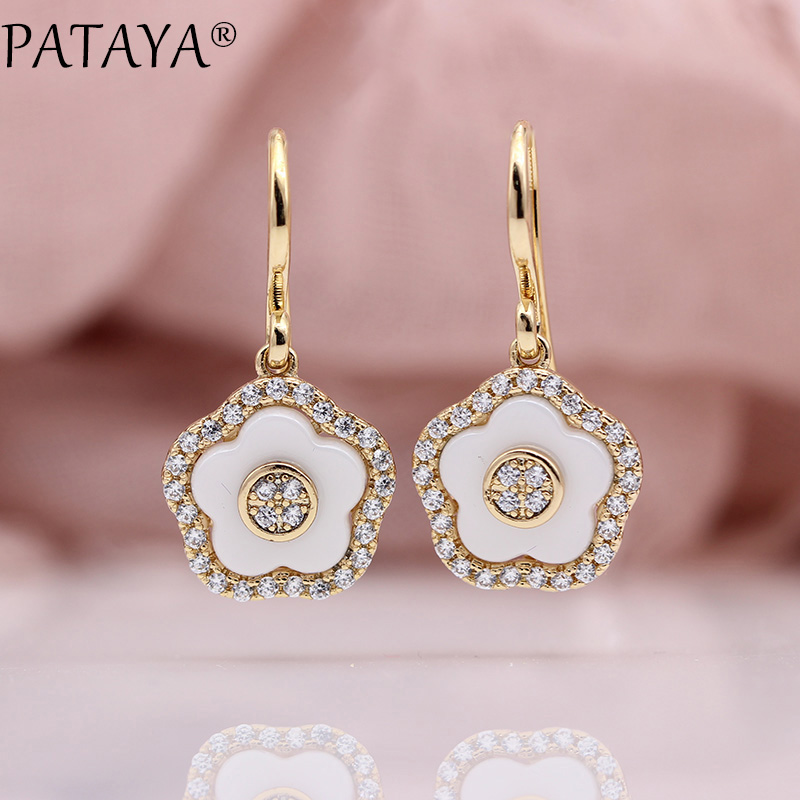 PATAYA New White Ceramic Flower Hollow Earring Women Fashion Wedding Cute Jewelry 585 Rose Gold Natural Zircon Long EarringsPATAYA New White Ceramic Flower Hollow Earring Women Fashion Wedding Cute Jewelry 585 Rose Gold Natural Zircon Long Earrings