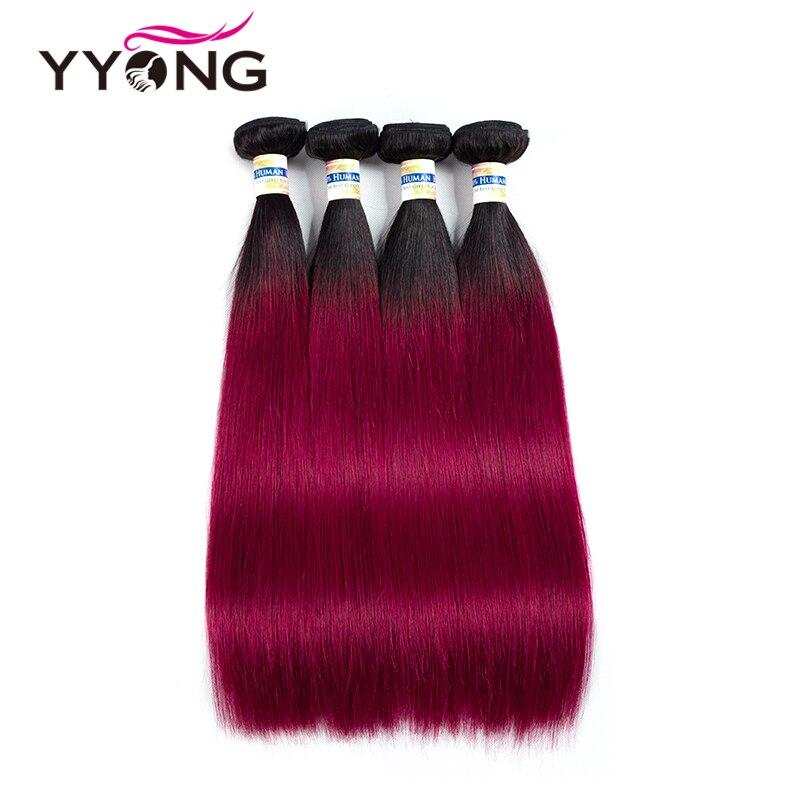 Yyong Ombre перуанский прямые волосы 4 пучки предварительно Цветной Burundy человеческих волос Weave Связки перуанский Прямо Цвет красного вина волос