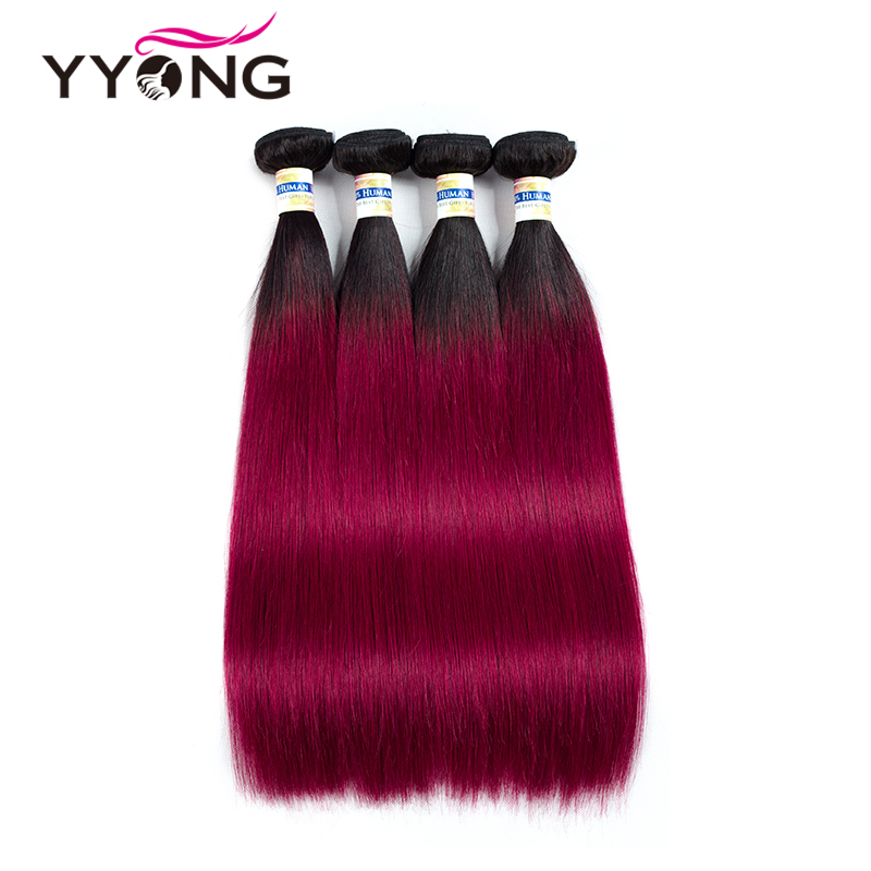 Yyong Ombre Peruvian Straight Hair 4 Bundles Pre-Colored Burundy Human Hair Weave Bundles Peruvian Straight Wine Red Hair