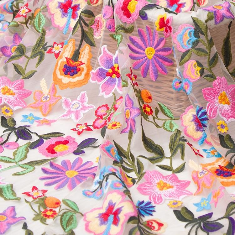 Ev ve Bahçe'ten Kumaş'de Mix renk çiçek örgü nakış dantel kumaş düğün elbisesi Tül Etek Malzeme kumaşlar patchwork kumas telas por metros'da  Grup 1