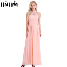 Women Ladies Neckline Halter Lace Floral Sleeveless Chiffon Dress Elegant Birthday Party Weeding Prom Gown First Communion Dress