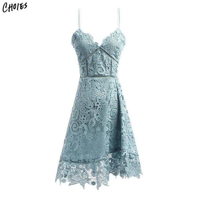 Robe vintage dentelle bleu