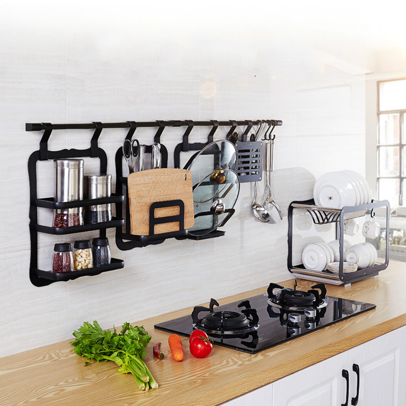 A1 American Retro Black Pendant Space Aluminum Multi-function Wall Hanging Knife Holder Spice Rack Pot Kitchen Rack LO827430