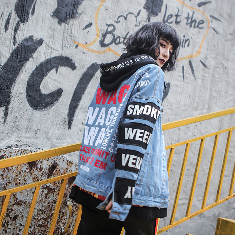 2018 Spring Summer Girl Cool Hip Hop Fashion Full Long Sleeve Letter Print Single Beasted Loose Wide-waisted Women Coat Jackets