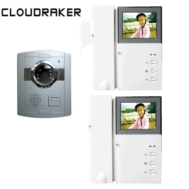 CLOUDRAKER Wired Video Intercom 2x 4.3 Inch Monitor with 1x Video Door Phone Camera IR Night Vision UnlockCLOUDRAKER Wired Video Intercom 2x 4.3 Inch Monitor with 1x Video Door Phone Camera IR Night Vision Unlock