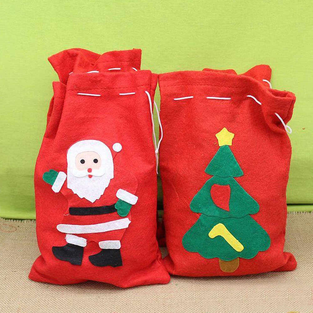 Christmas Drawstring Gift Bags Home Party Candy Gift Bag New Year Red  Small Drawstring Gift Bag Children Candy Pouches