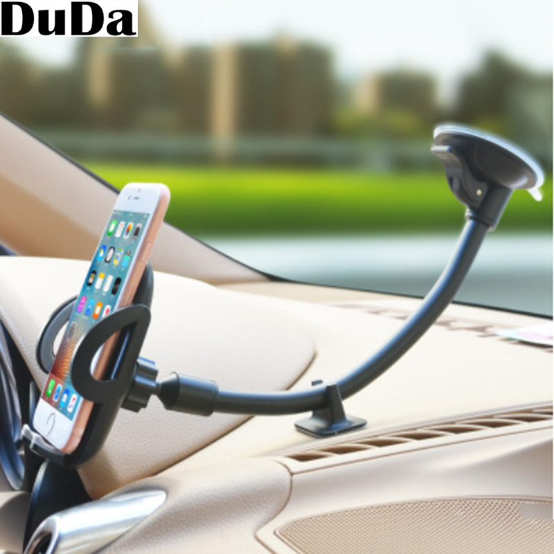 Luxury Long Arm Universal Mobile Cell Phone Car Holder Stand Windshield Mount For IPhone7 6S Oppo Find X ABS Material Support