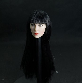 1/6 Lenka Kripac Head Women Girl Head Models with Black Long Pale Color for 12'' Action Figures Bodies Toys Gifts