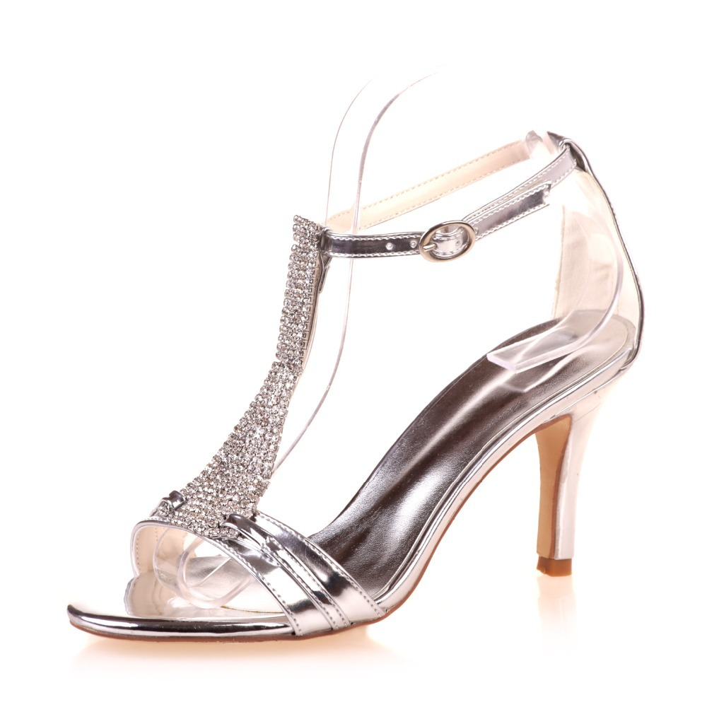 15366d9a2a901 Creativsugar lady crystal T strap sandals rhinestone party cocktail dress  sandals Metallic vanish PU gold silver blue shoes heel