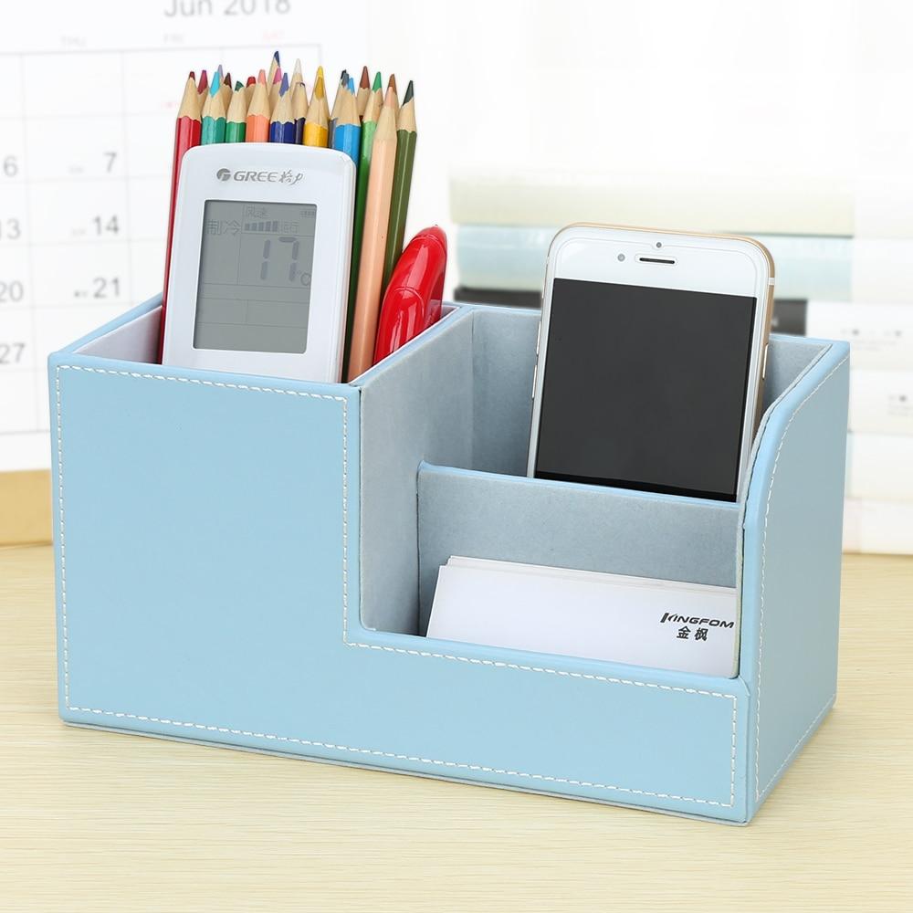 Gred Tinggi PU Kulit Pen Pensil Peti Pemegang Desktop Alat Penstoran - Organisasi dan penyimpanan di dalam rumah - Foto 4