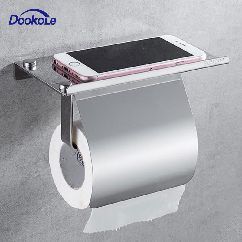 Toilet Paper Holder Anti-Rust Stainless Steel Toilet Roll Holder With Phone Shelf Wall Mounted Bathroom Tissue Holder
