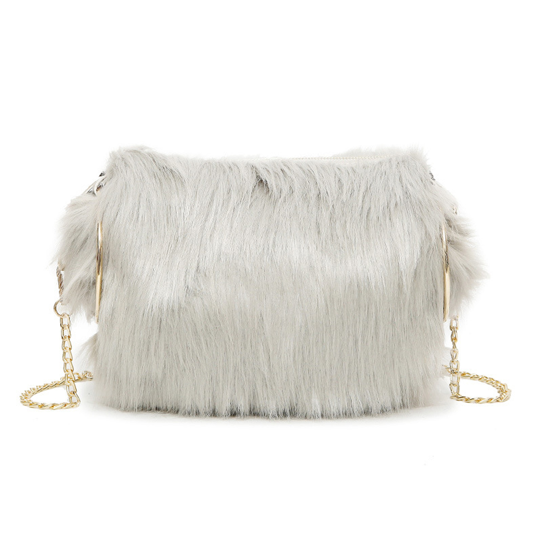 202e0fbdd6 2017 Winter Women Faux Fur Handbags Luxury bucket bags girl s Evening Bag  round handle chain shoulder bags party clutch bags -in Top-Handle Bags from  ...