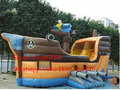 2016 New design inflatable slide with jumping bouncer/ship type inflatable bounce castle house