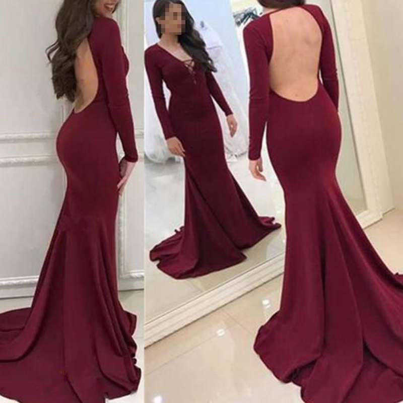 New Burgundy Prom Dresses 2019 V neck Long Sleeves Sweep Train Sexy Elegant Backless Mermaid Evening Celebrity Gowns