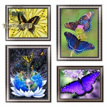 FineTime 5D DIY Diamond Embroidery Butterfly Partial Drill Animals Diamond Painting Cross Stitch Mosaic Paintings dazzle butterfly prints diamond paintings