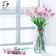 Erxiaobao 10 Pieces/Lot  Blue Pink Purple Green Red Fake Tulips Artificial Flowers High Quality PU for Home Decoration