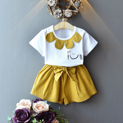 2019 NEW Girls Kids Summer Outfit Floral Fashion Suit 2pc Corron Summer Suit Pineapple Casual Wear Children Suit