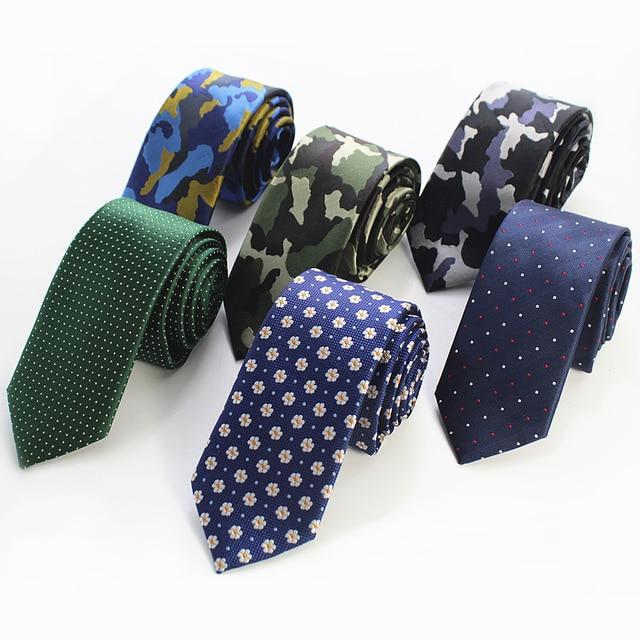 RBOCOTT Hot Sale Mens Slim Tie Dot & Floral & Camouflage Patterned Ties 6cm Neck Ties Fashion Skinny Tie Wedding Party NeckTies